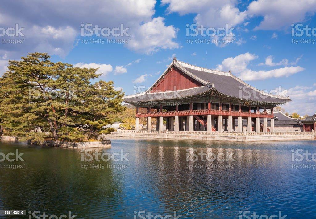 gyeonghoeru in a lake at gyeongbokgung Palace, Seoul, South Kore stock photo