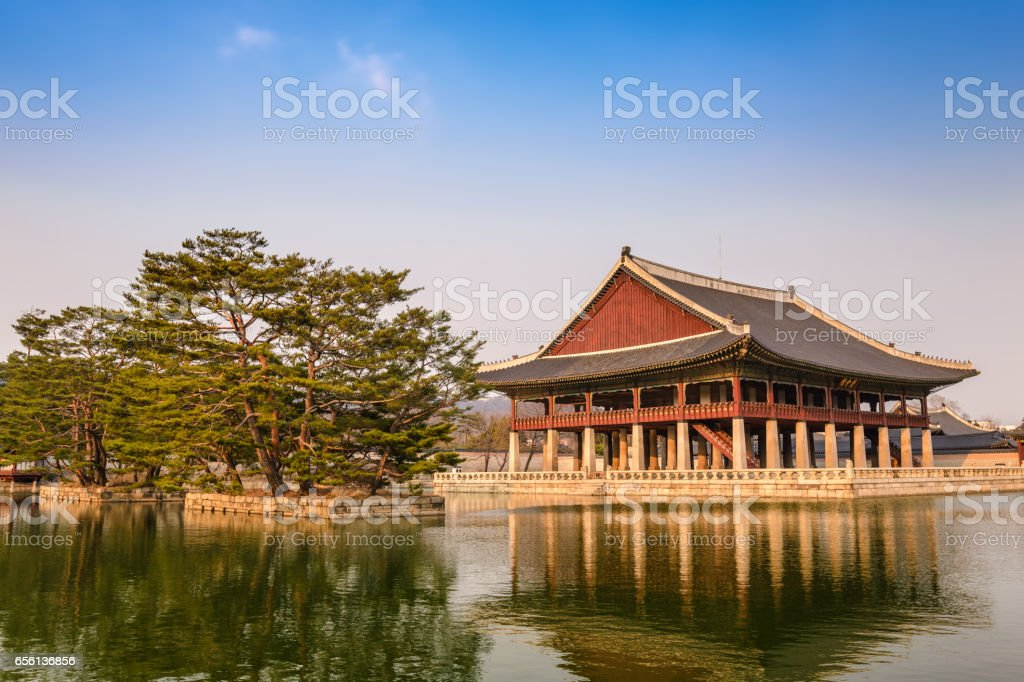 Gyeonghoeru Pavilion at Gyeongbokgung Palace, Seoul, South Korea stock photo