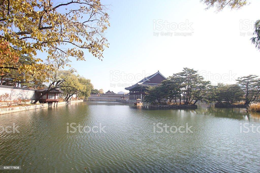 Gyeonghoeru Pavilion, Gyeongbokgung Palace, Seoul stock photo