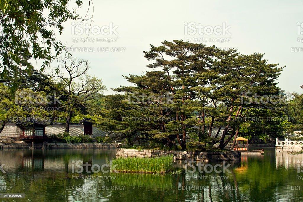 Gyeonghoeru Pavilion of Gyeongbokgung Palace, Seoul, South Korea stock photo
