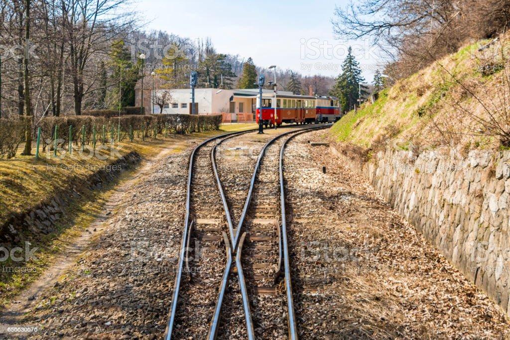 Gyermekvasút (Children's Railway) track and train in Budapest stock photo