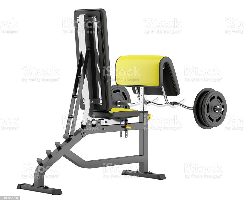 gym arm curl bench with barbell isolated on white background stock photo