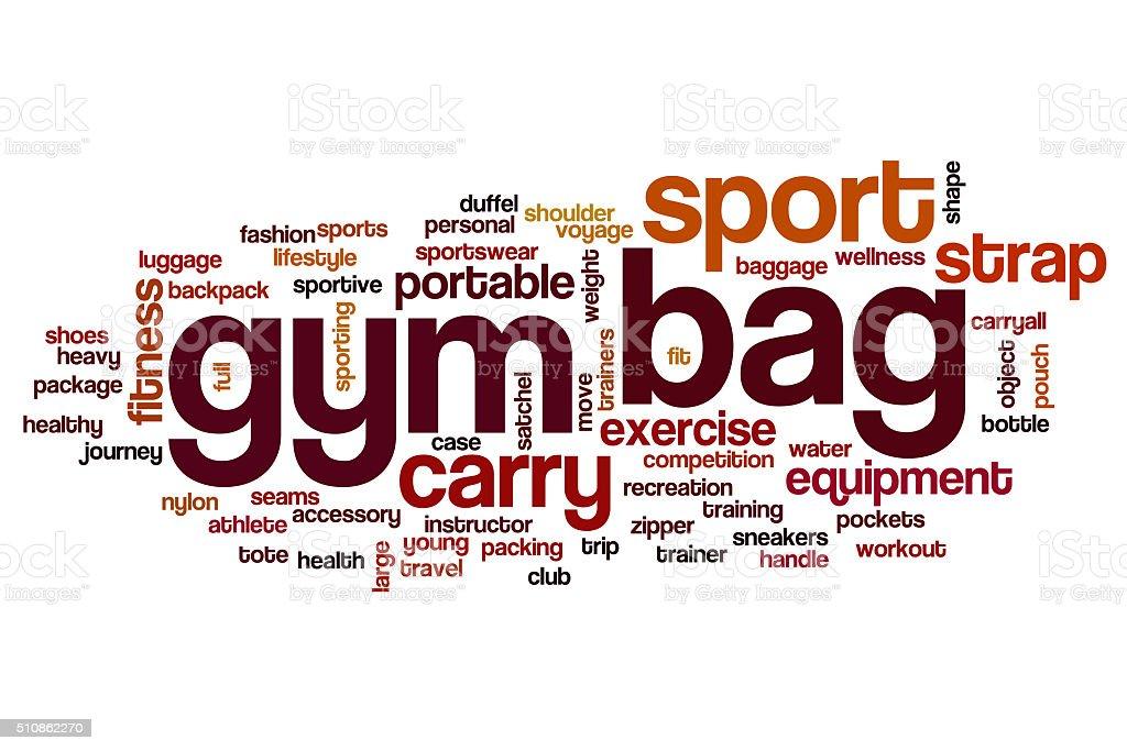 Gym bag word cloud concept stock photo