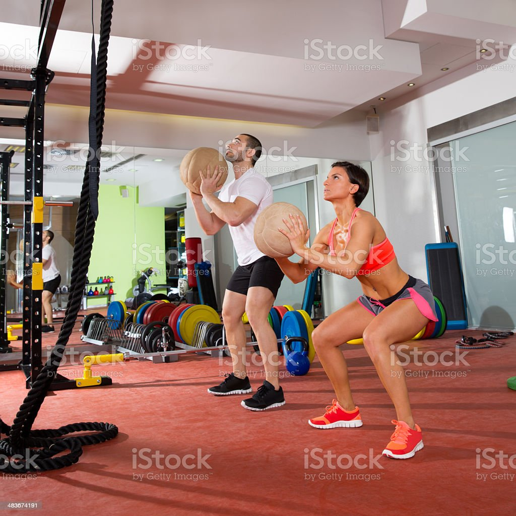 gym ball fitness workout group woman and man royalty-free stock photo