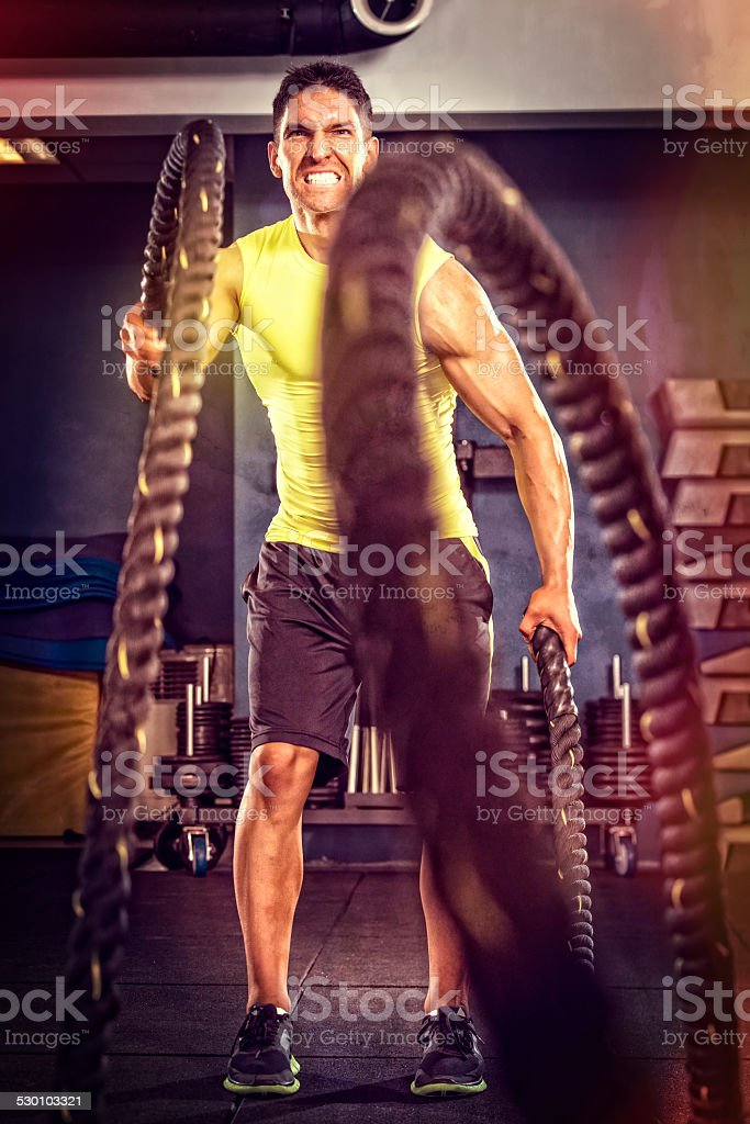 Crossfit Battling Rope Workout stock photo