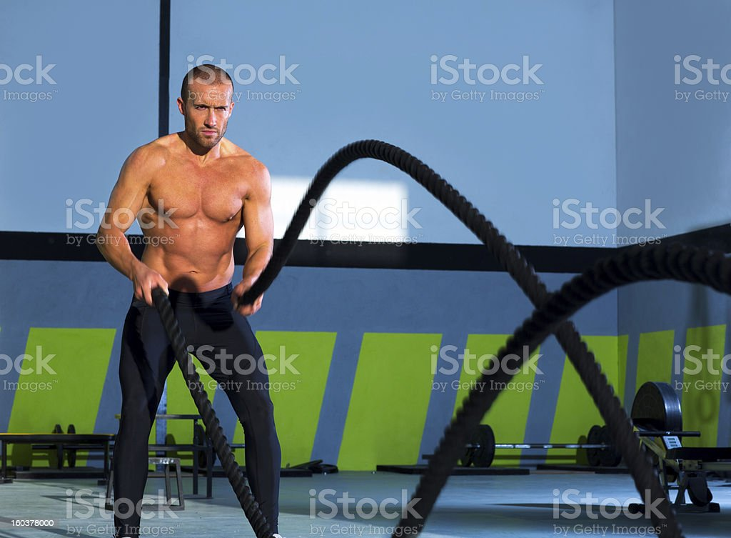 gym battling ropes at gym workout exercise royalty-free stock photo