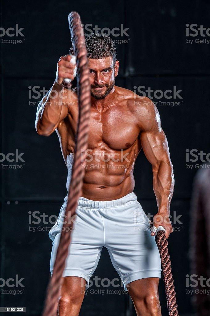 gym Battling Ropes stock photo