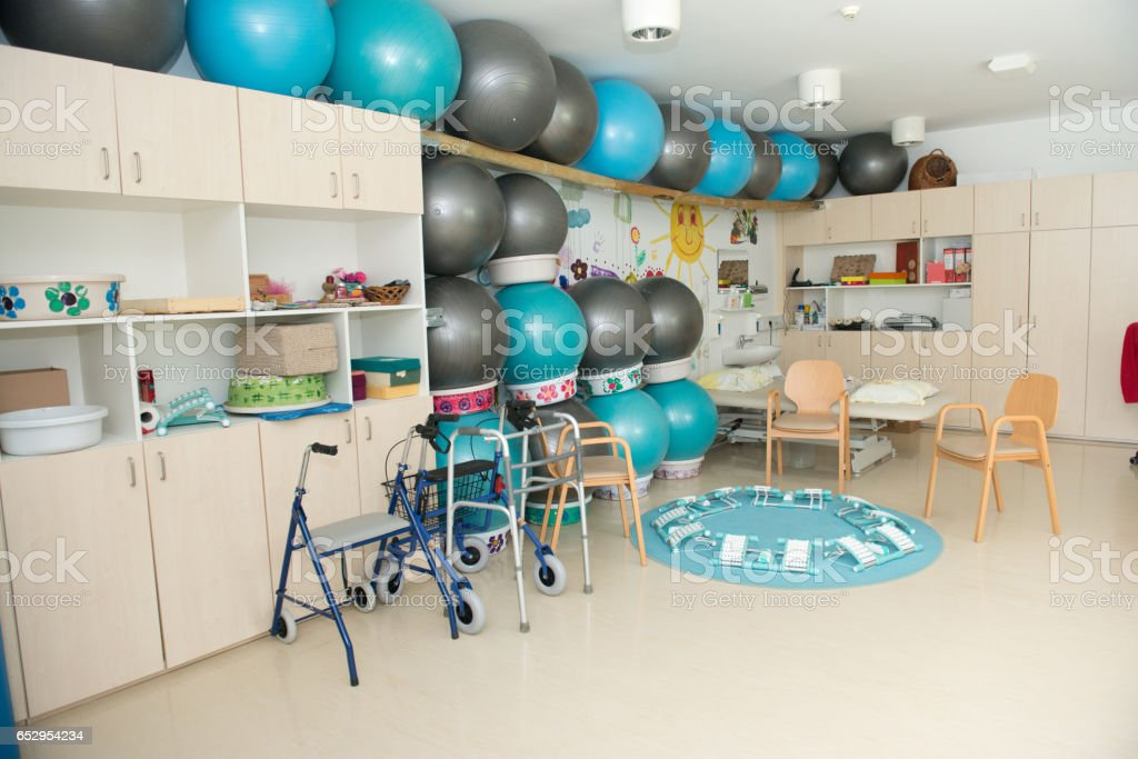 Gym Class For Group Therapy In The Nursery Home stock photo