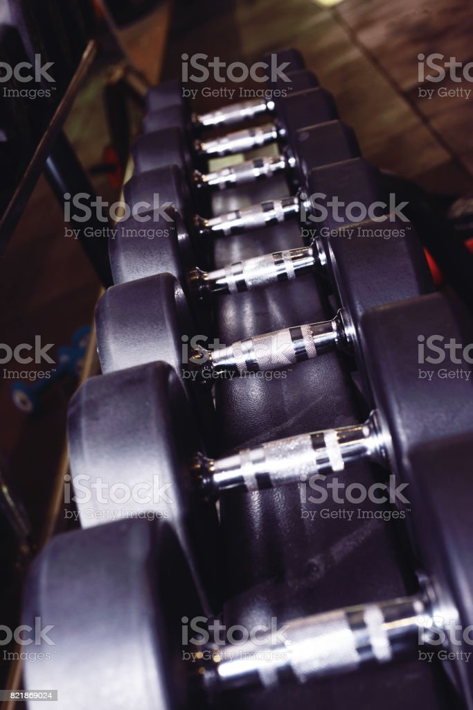 Gym dumbbell stock photo