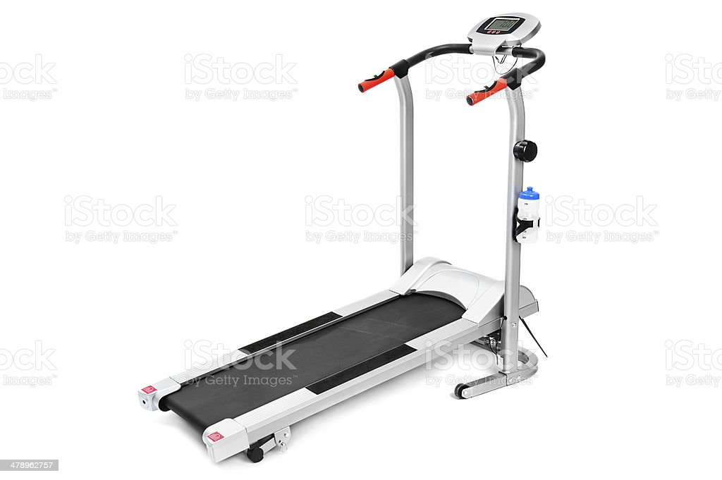 gym equipment, treadmill for cardio workouts stock photo