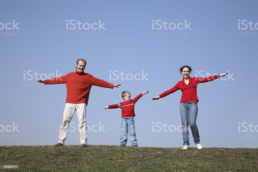 gym family on meadow royalty-free stock photo