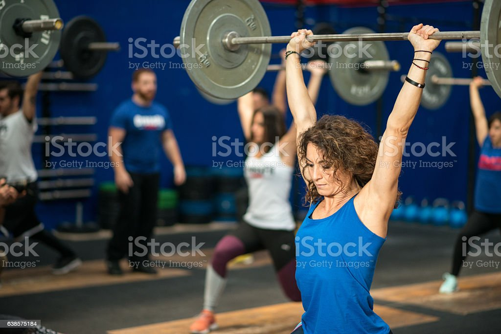Gym fitness workout: Weightlifting class stock photo