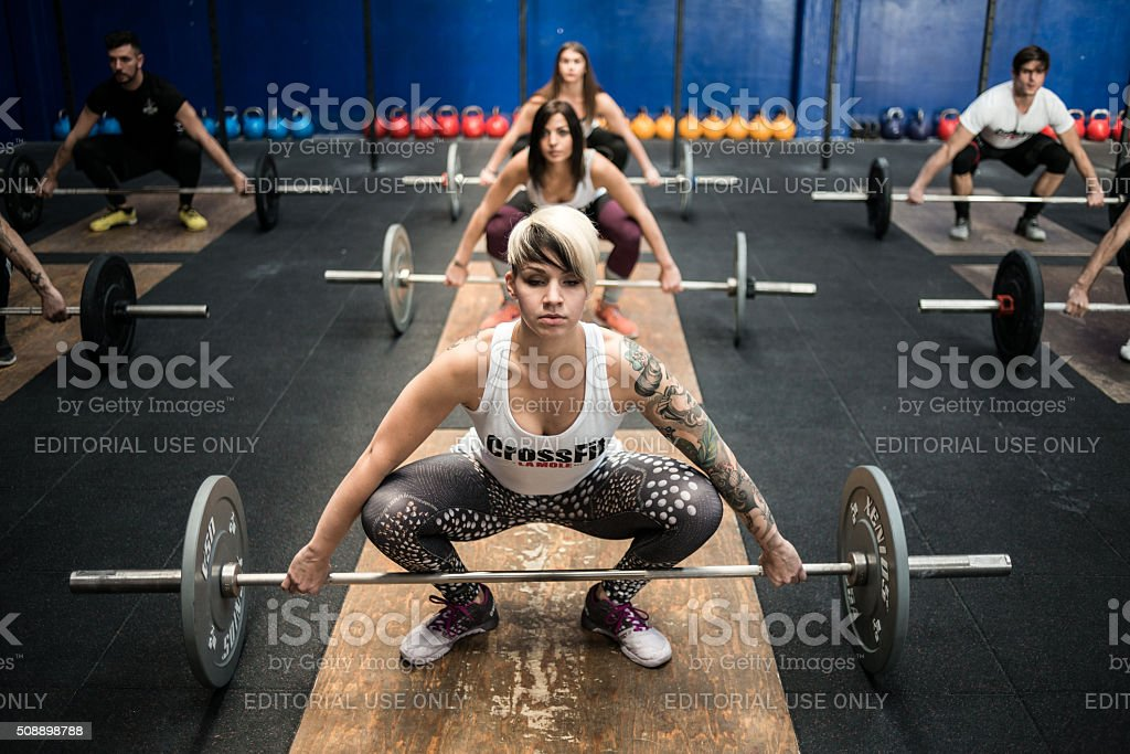 gym gym workout: Weightlifting class stock photo