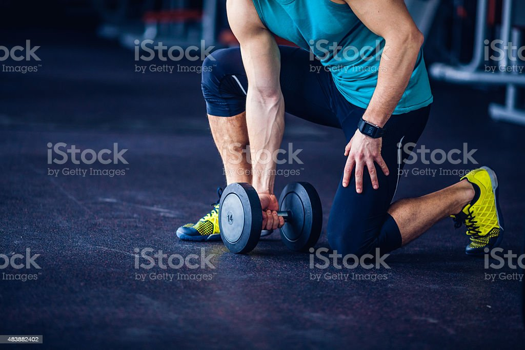 Crossfit instructor at the gym doing Exercise stock photo