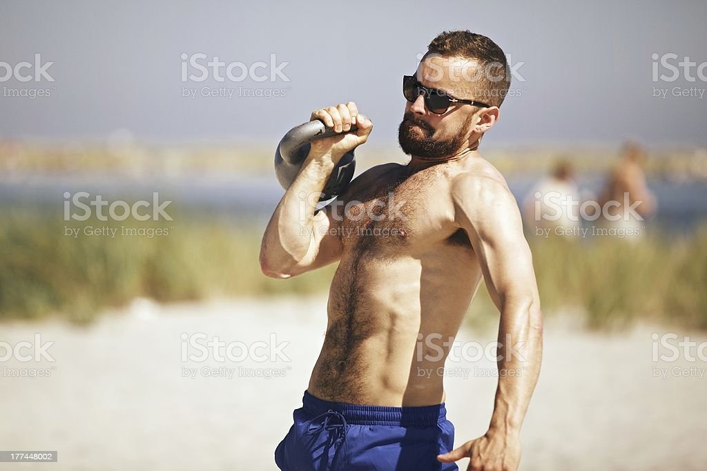 gym Kettlebell Workout stock photo