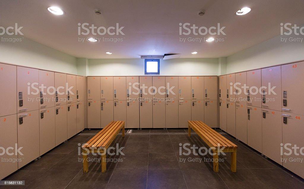 gym locker room stock photo