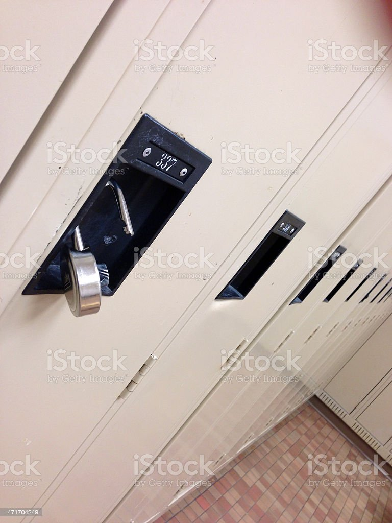 Gym Lockers and Combination Lock royalty-free stock photo