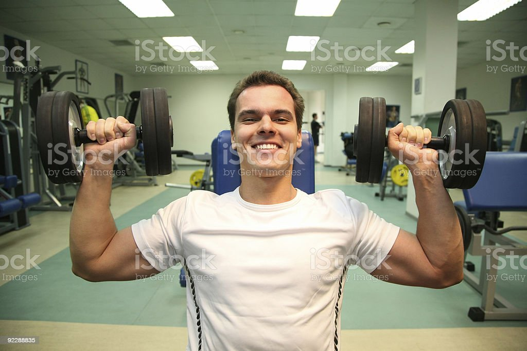 gym man with dumbbells 3 royalty-free stock photo