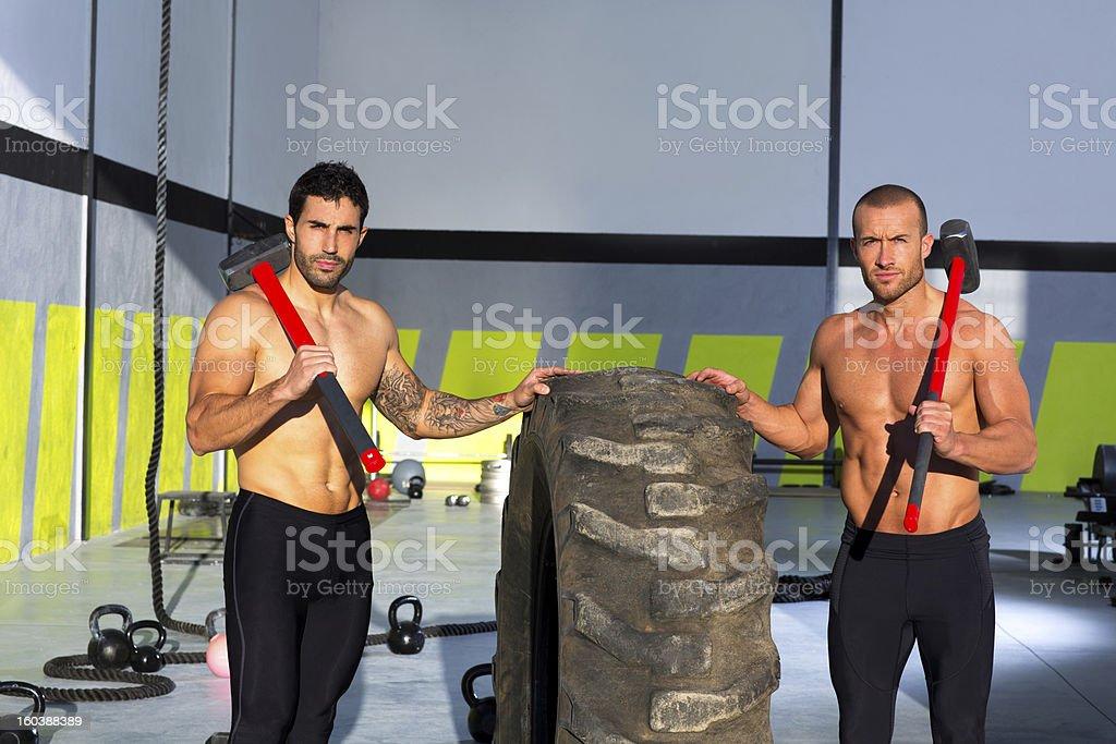 gym sledge hammer men workout royalty-free stock photo