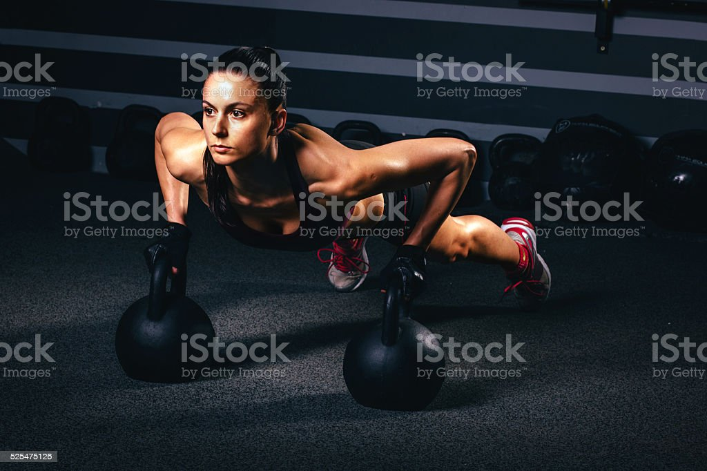 gym training with kettle bell stock photo