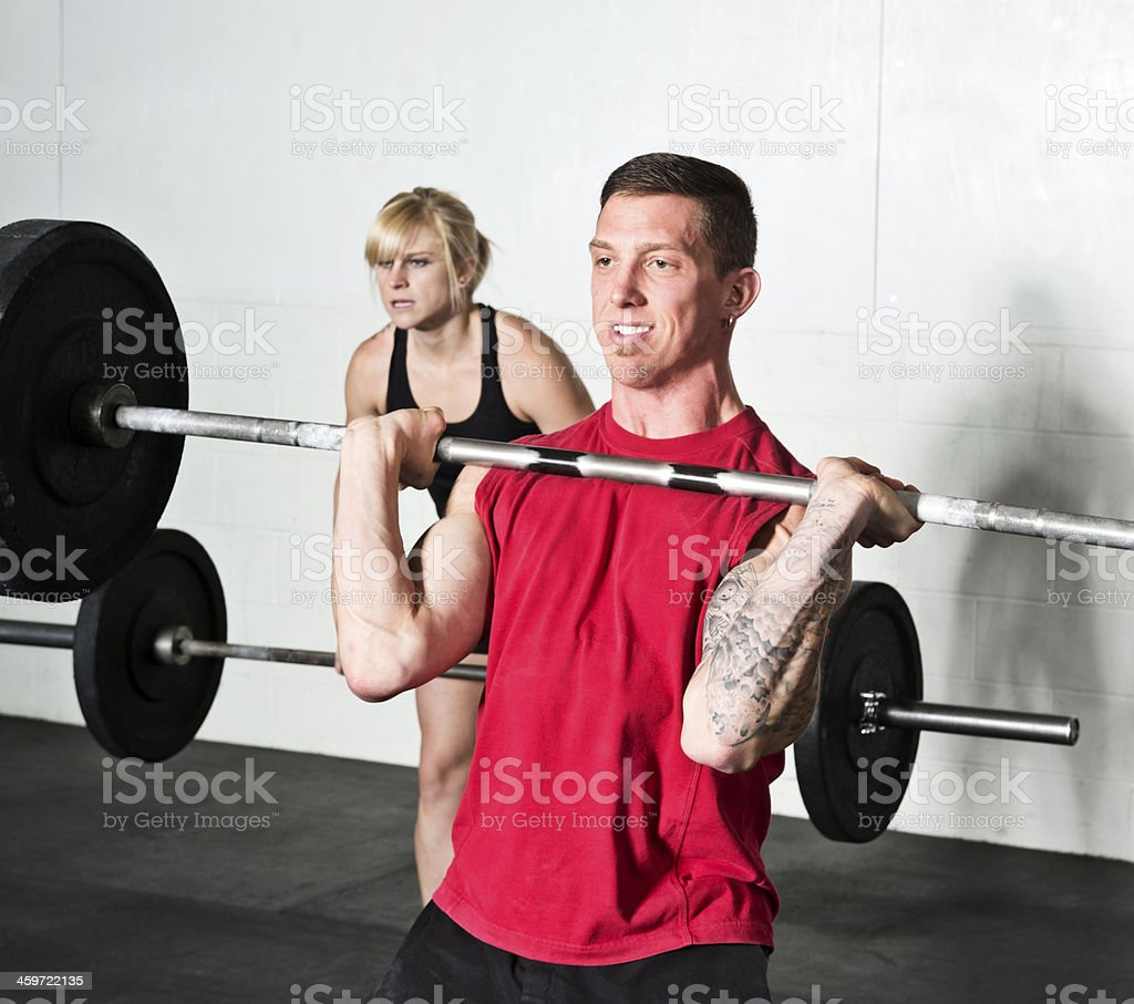 gym weightlifting stock photo