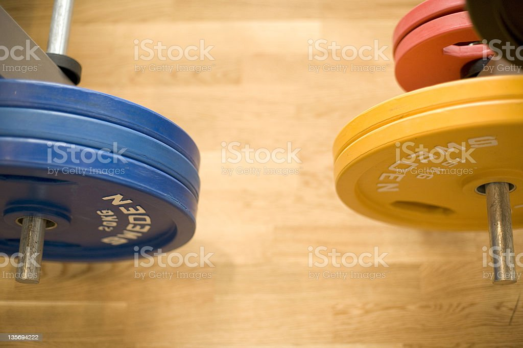 gym weights stock photo