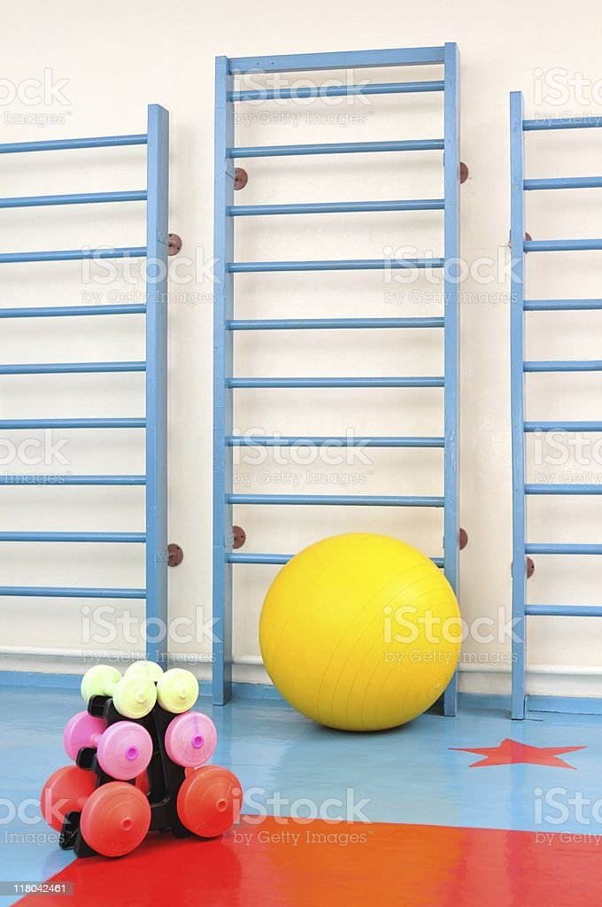 Gymnasium equipment stock photo