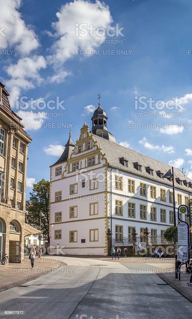 Gymnasium Theodorianum building in the historical center of Paderborn stock photo