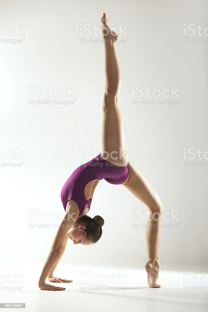 Gymnast and ballerina stock photo