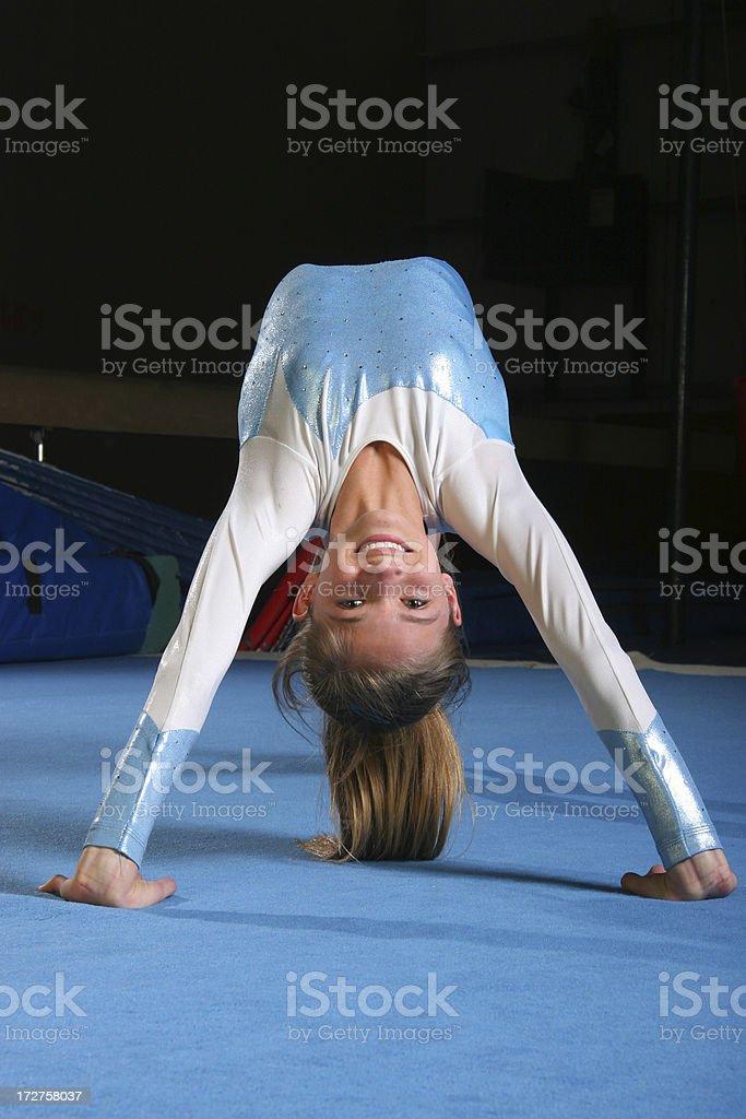 Gymnast back bend stock photo