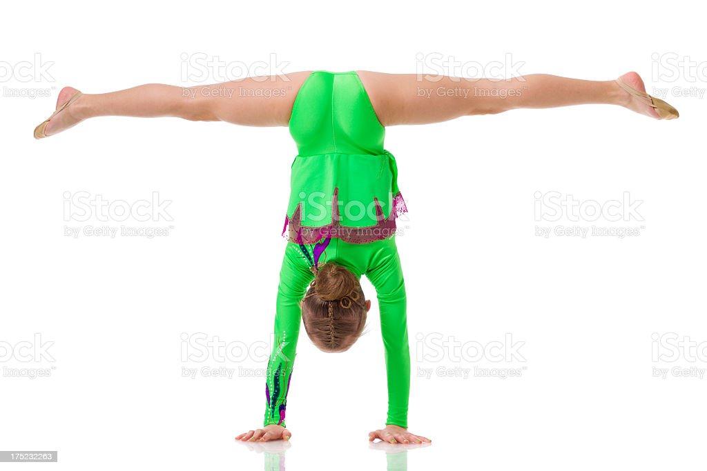 Gymnast girl isolated on white royalty-free stock photo