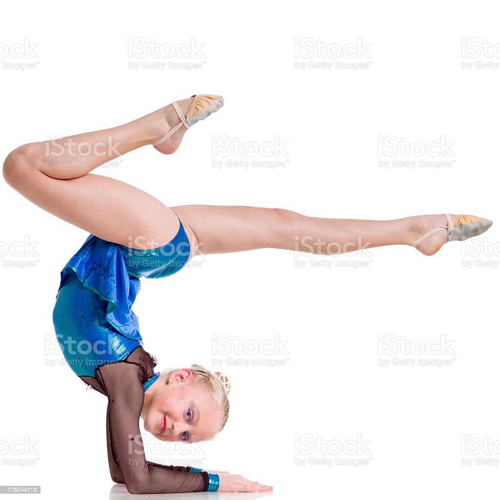 Gymnast girl isolated on white stock photo