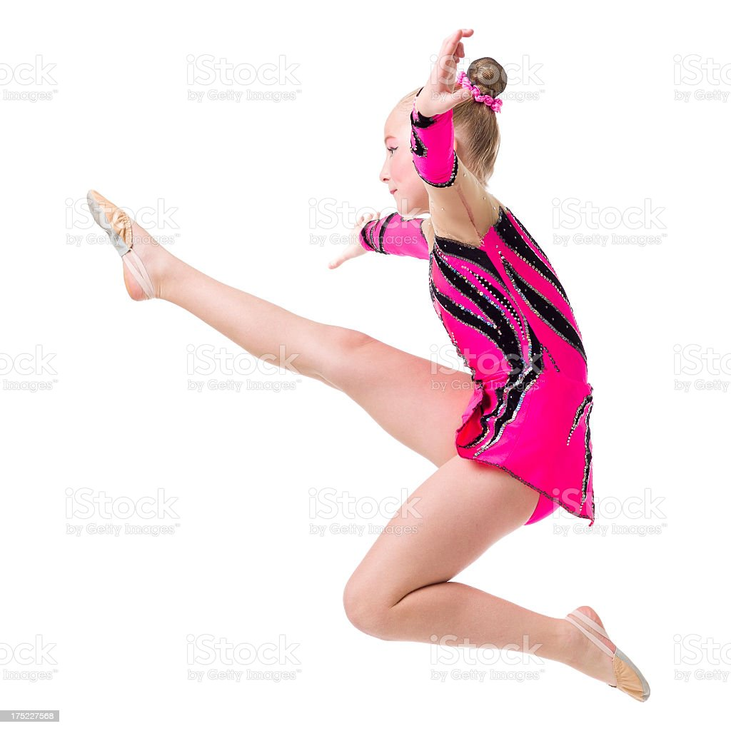 Gymnast girl jump isolated on white royalty-free stock photo