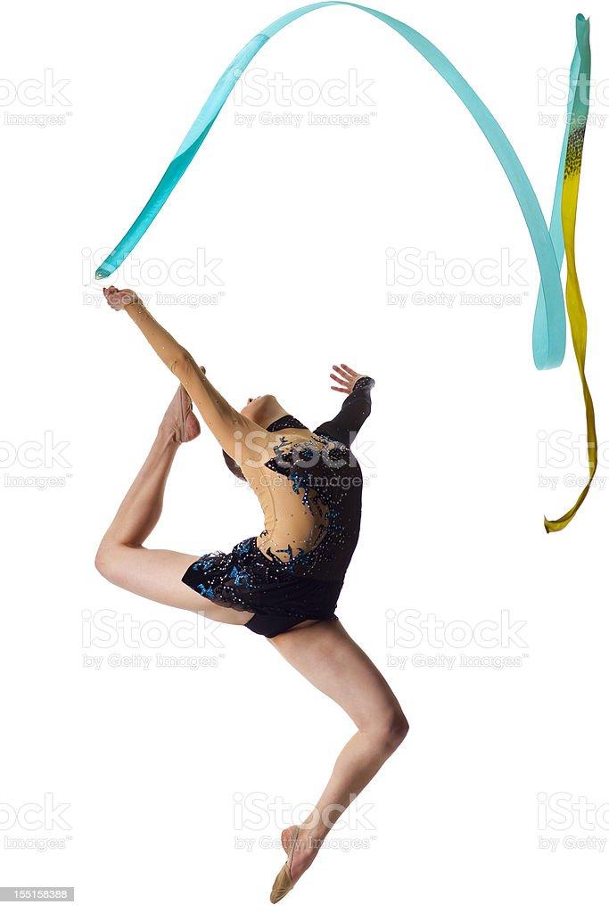 Gymnast girl jump on white background stock photo
