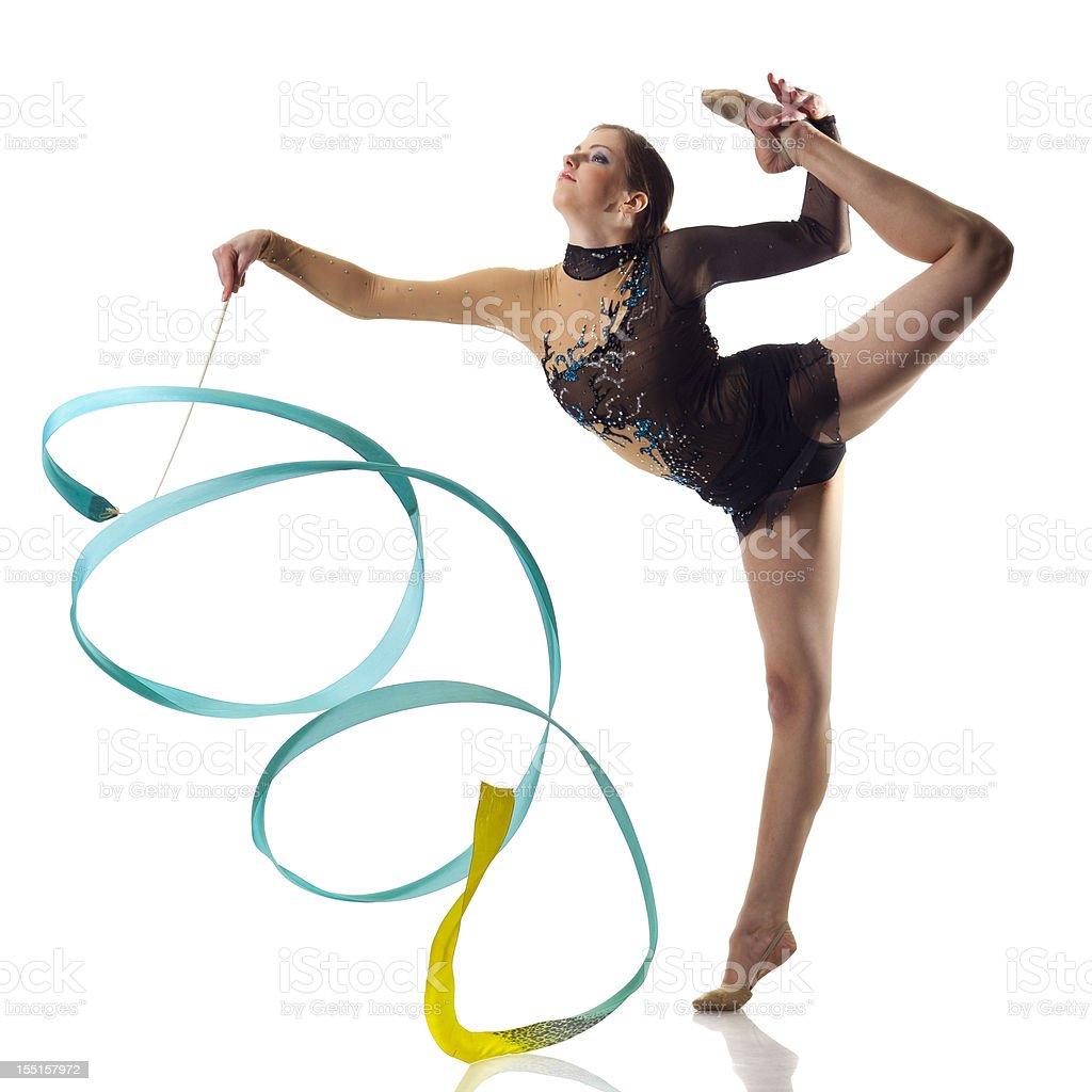 Gymnast girl on white background stock photo
