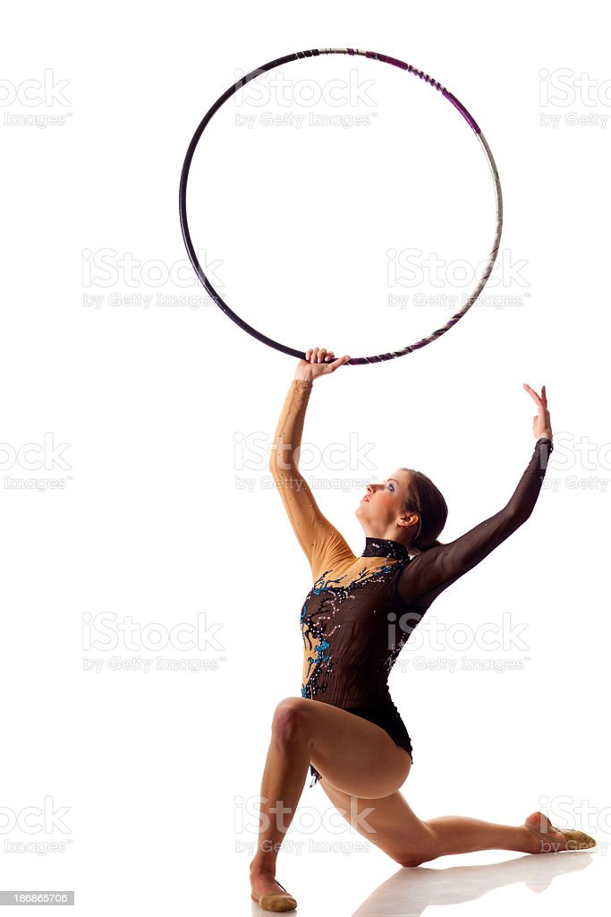 Gymnast girl with hula hoop isolated on white royalty-free stock photo