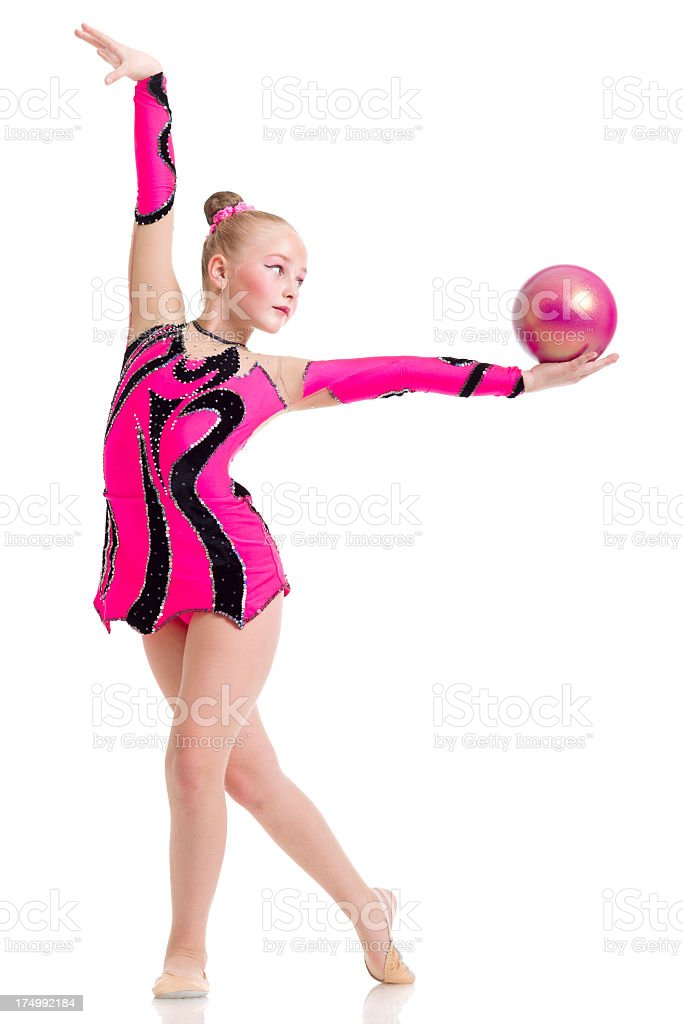 Gymnast girl with Rhythmic Ball isolated on white stock photo