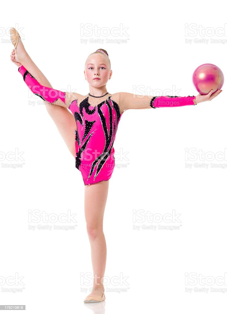 Gymnast girl with Rhythmic Ball isolated on white royalty-free stock photo