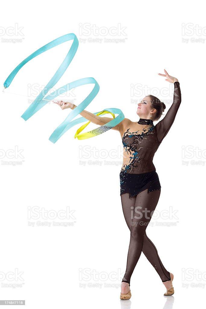Gymnast girl with Rhythmic Ribbon isolated on white stock photo