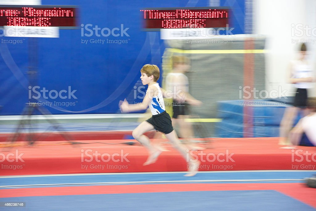 Gymnast Running Blurred Action stock photo
