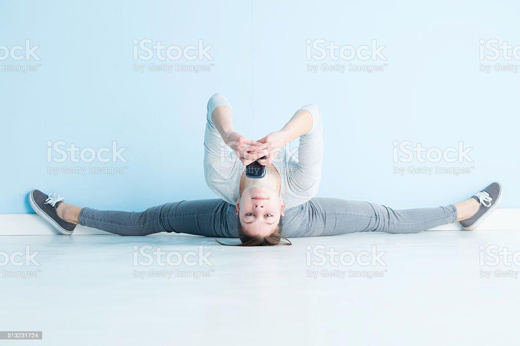 Gymnast Texting stock photo