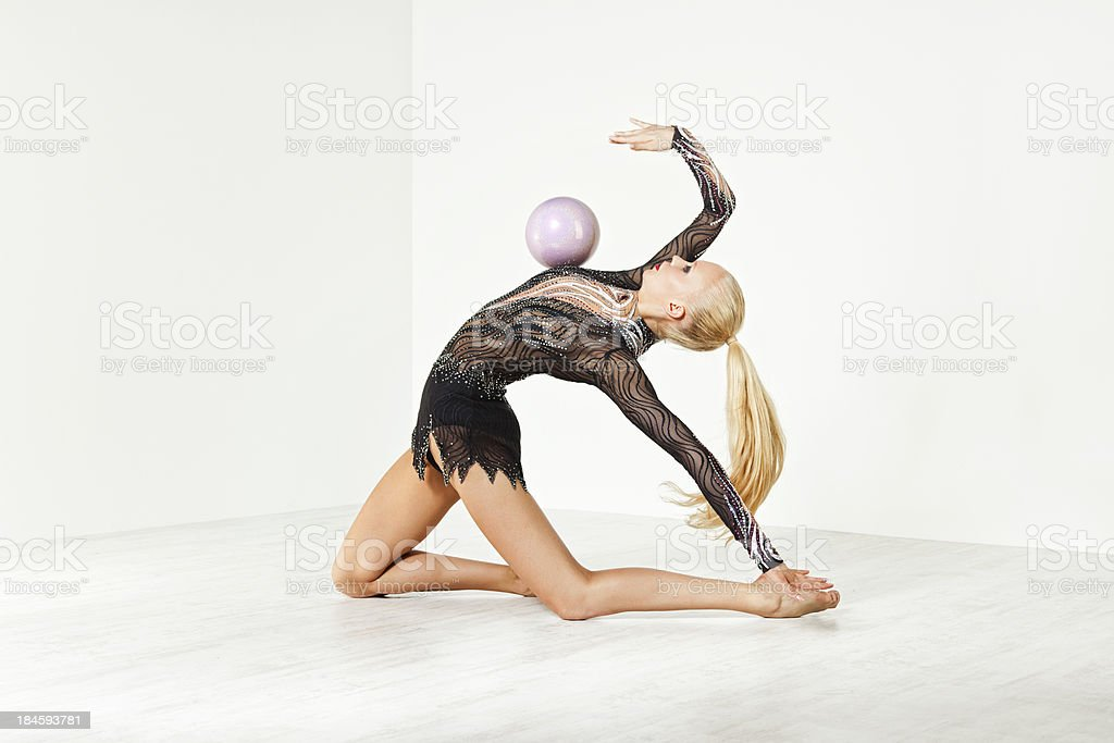 gymnast with a ball stock photo