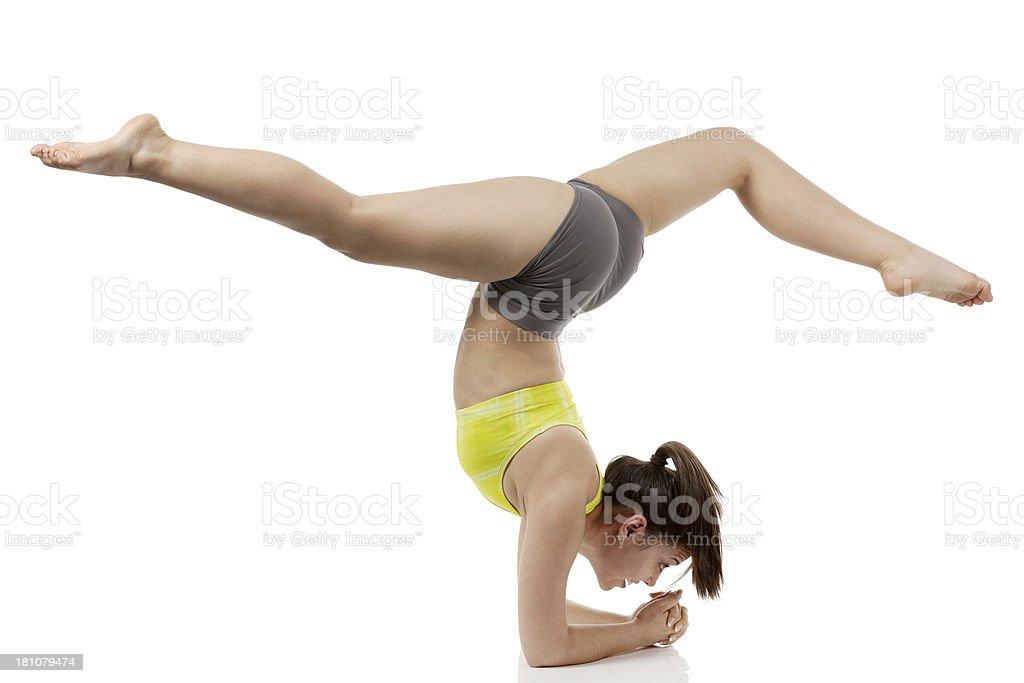 Gymnast woman doing split exercise royalty-free stock photo
