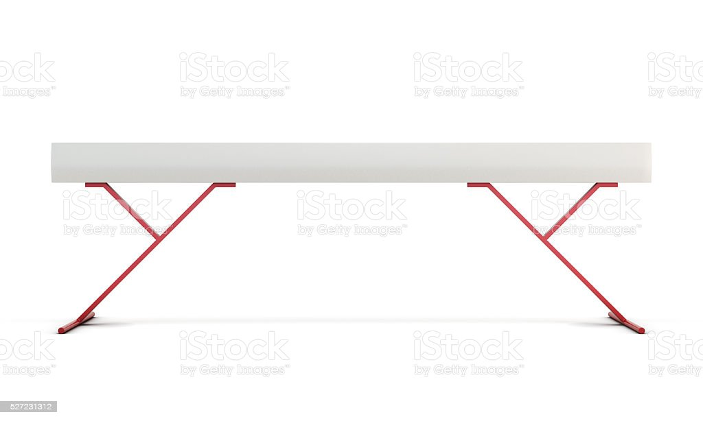 Gymnastic balance beam isolated on white background. 3d renderin stock photo