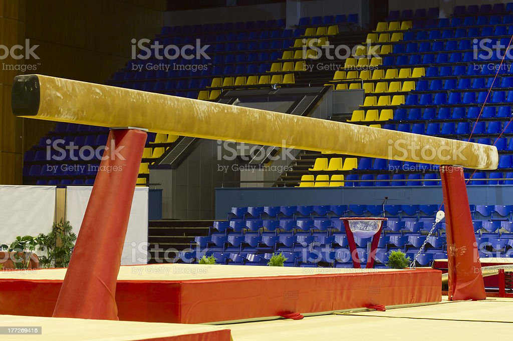 Gymnastic balance beam stock photo