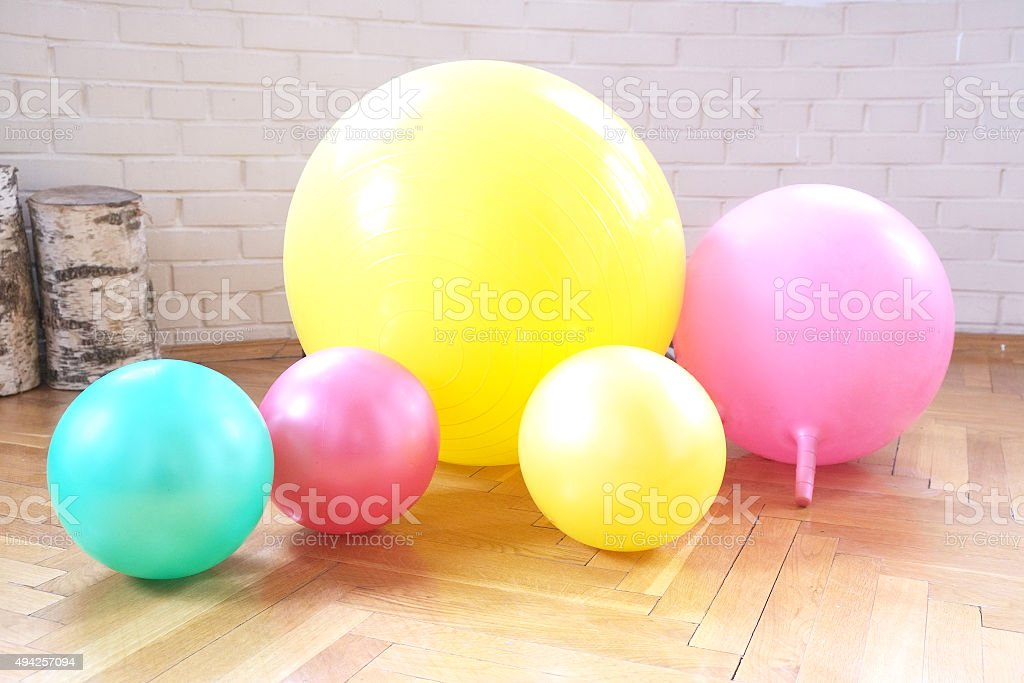 Gymnastic balls stock photo