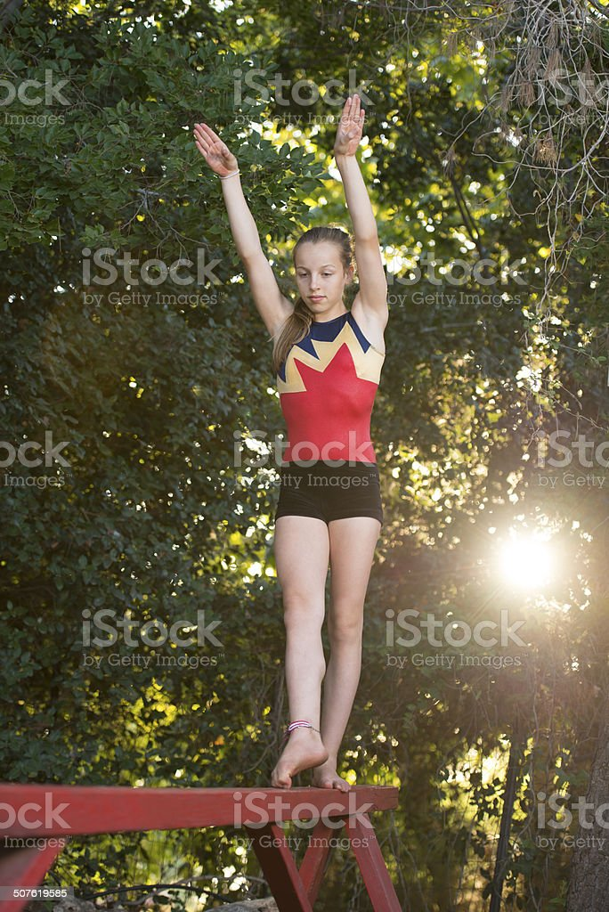 Gymnastic  training. stock photo