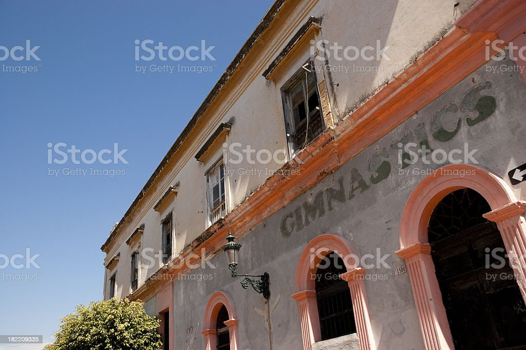 Gymnastics Building With Arched Doors in Mazatlan Mexico royalty-free stock photo