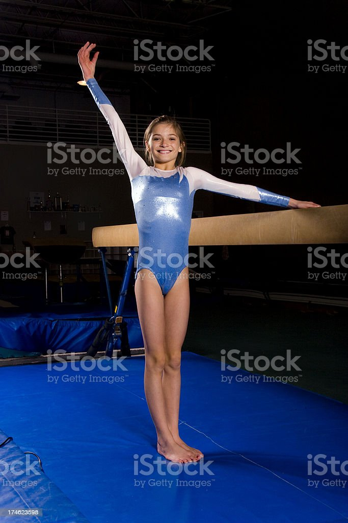 Gymnastics Completed Routine stock photo