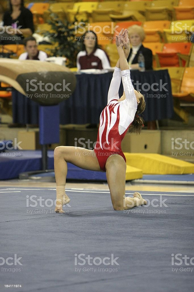 Gymnastics Floor Excercise, Red Leotard stock photo
